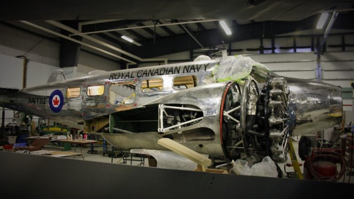 The Beechcraft C-45 Expeditor undergoes restoration at the Shearwater Aviation Museum.