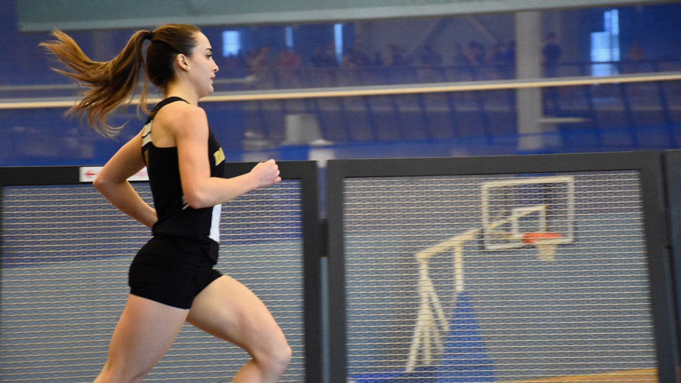 Michelle Reddy runs in the 1500m event at the Nova Scotia Indoor Championships at the Canada Games Centre.