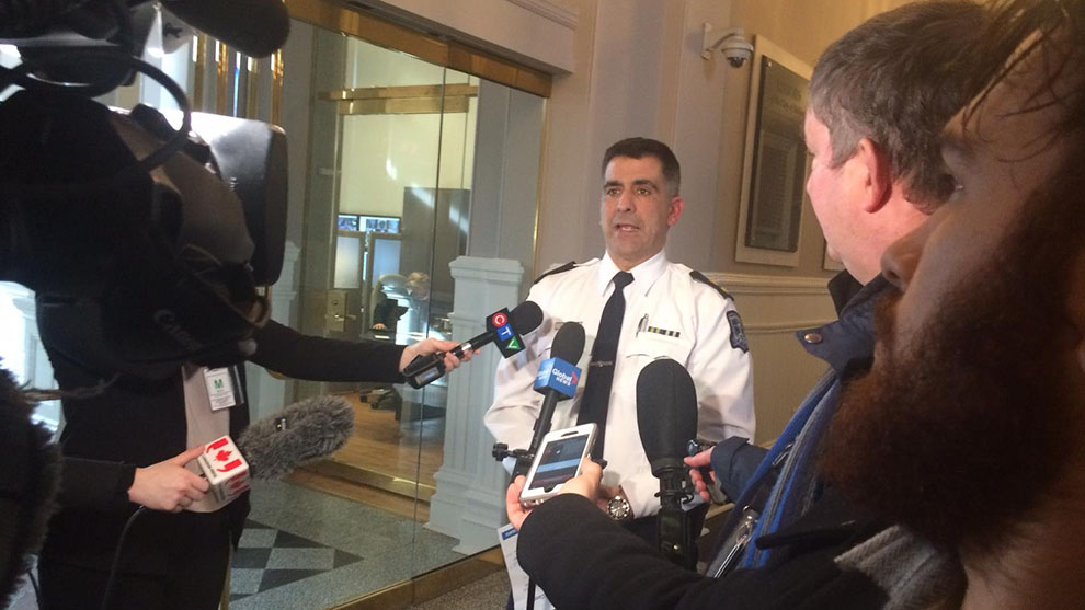 Police Superintendent Jim Perrin answers reporters questions at City Hall Monday