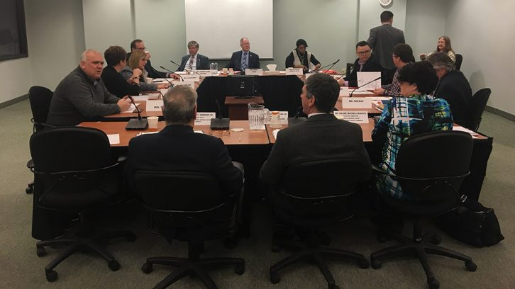 Members of the Standing Committee on Veterans Affairs hear a proposal for a new medical centre for veterans in Burnside.
