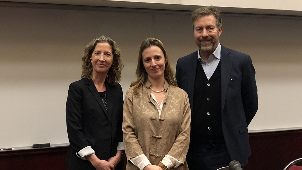 Karly Kehoe(middle), Edward Lempinen(right) hope that more refugee scholars can come to Nova Scotia to continue their research.