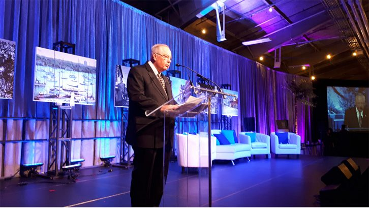 Dr. John Anderson delivers a speech at the 2018 Courage to Give Back Awards