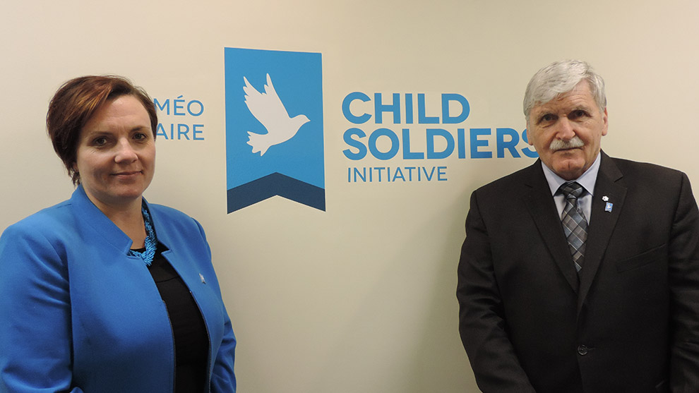 Shelly Whitman and Lt. Gen. Roméo Dallaire in their office at Dalhousie University was founded in 2007.