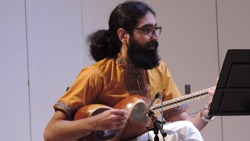 Mohammad Sahrai, director of the Halifax World Music Museum, plays the Iranian tar.
