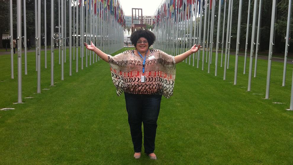 Vanessa Fells at the United Nations in Geneva.