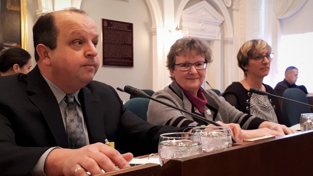 From left to right, Paul Keats (Regional Director), Frances Martin (Deputy Minister of Environment), and Lorrie Roberts (Executive Director, Policy) prepare to answer MLAs questions.