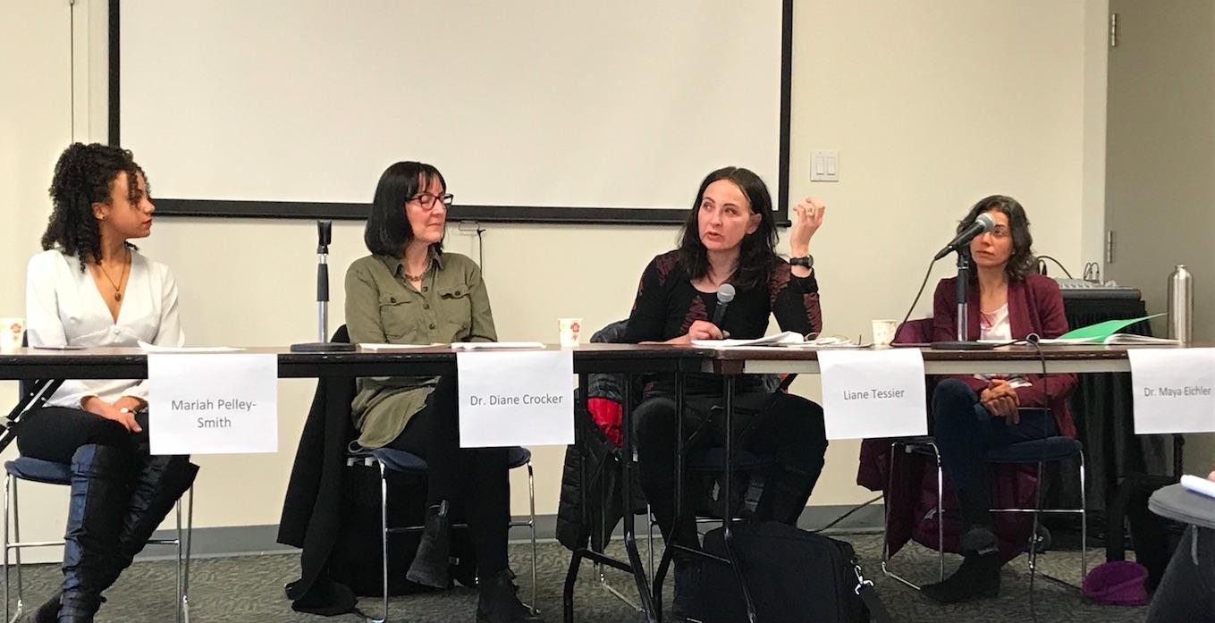 Panellists Mariah Pelley-Smith, Diane Crocker, Liane Tessier and Maya Eichler speak Wednesday at Dalhousie University.