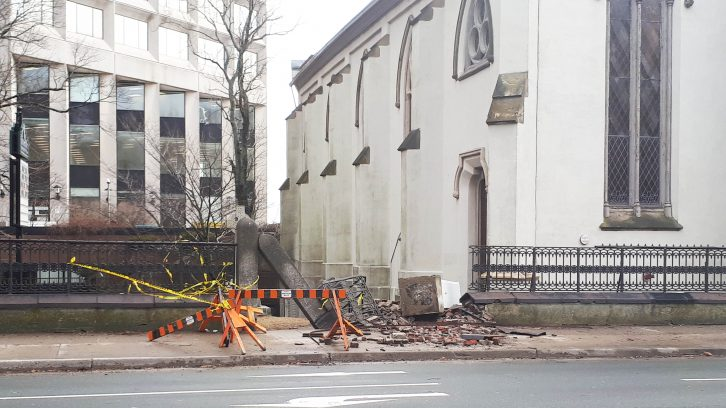 St. Matthew's Church on Barrington Street was damaged by high winds.