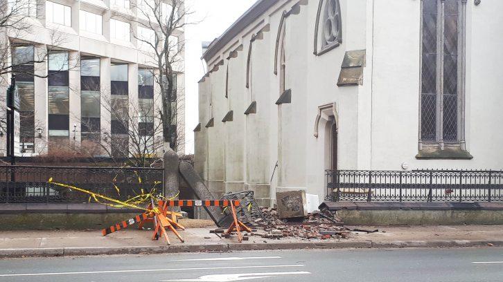 St. Matthew's Church on Barrington Street was damaged by high winds.
