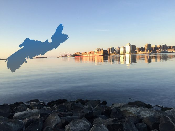 Sunrise over Halifax, Nova Scotia. Montage map by Sofia Ortega. Photo credit: Sofia Ortega
