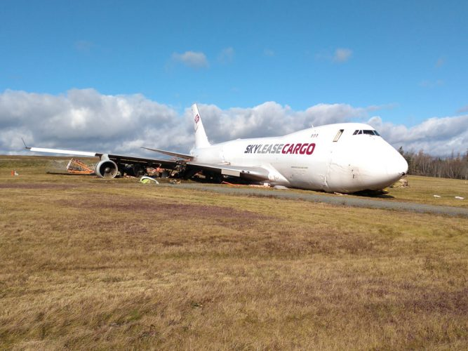 The off-runway cargo plane at Halifax Stanfield International Airport.