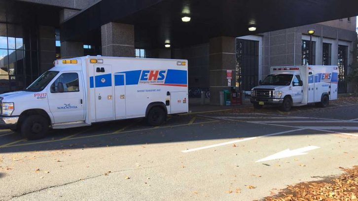 Two ambulances sit outside of the Halifax Infirmary on Wednesday afternoon.