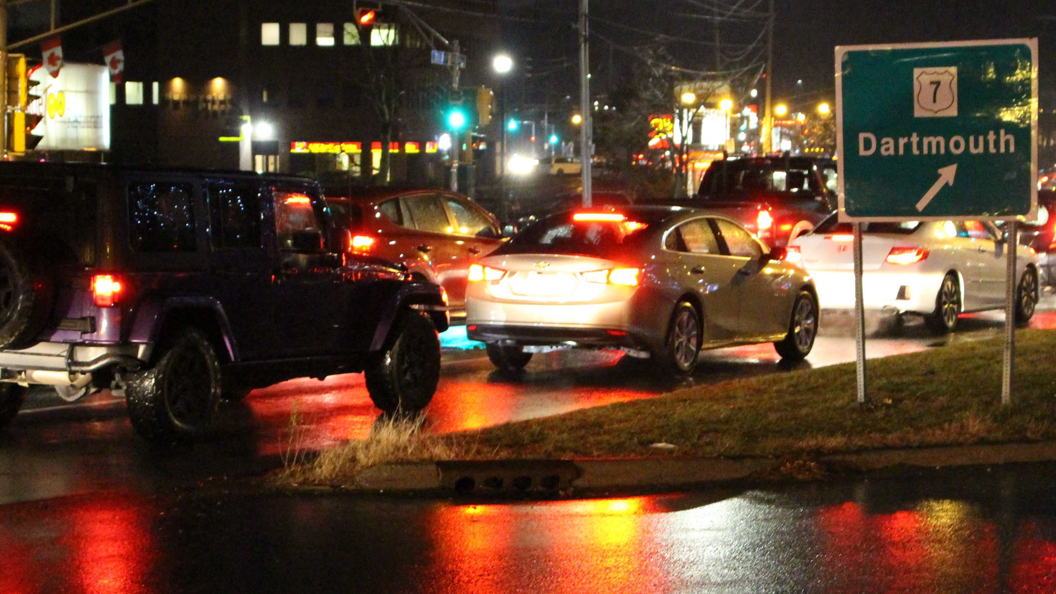 Cars line up during rush hour traffic on the Bedford Highway Monday evening.