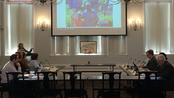 Jayme Melrose presents the Common Roots Urban Farm proposal to the Community Planning and Economic Development Standing Committee on Thursday.