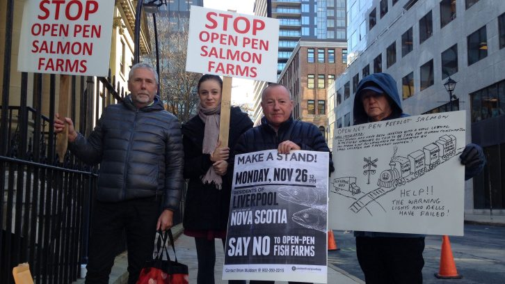 Protesters gather outside Province House on Nov. 26 to voice their opposition to proposed fish farms in Liverpool.
