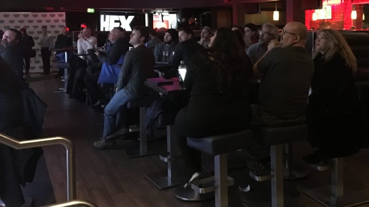 Spectators await the announcement of the name for the proposed Halifax CFL team at HFX Sports Bar and Grill Friday night.