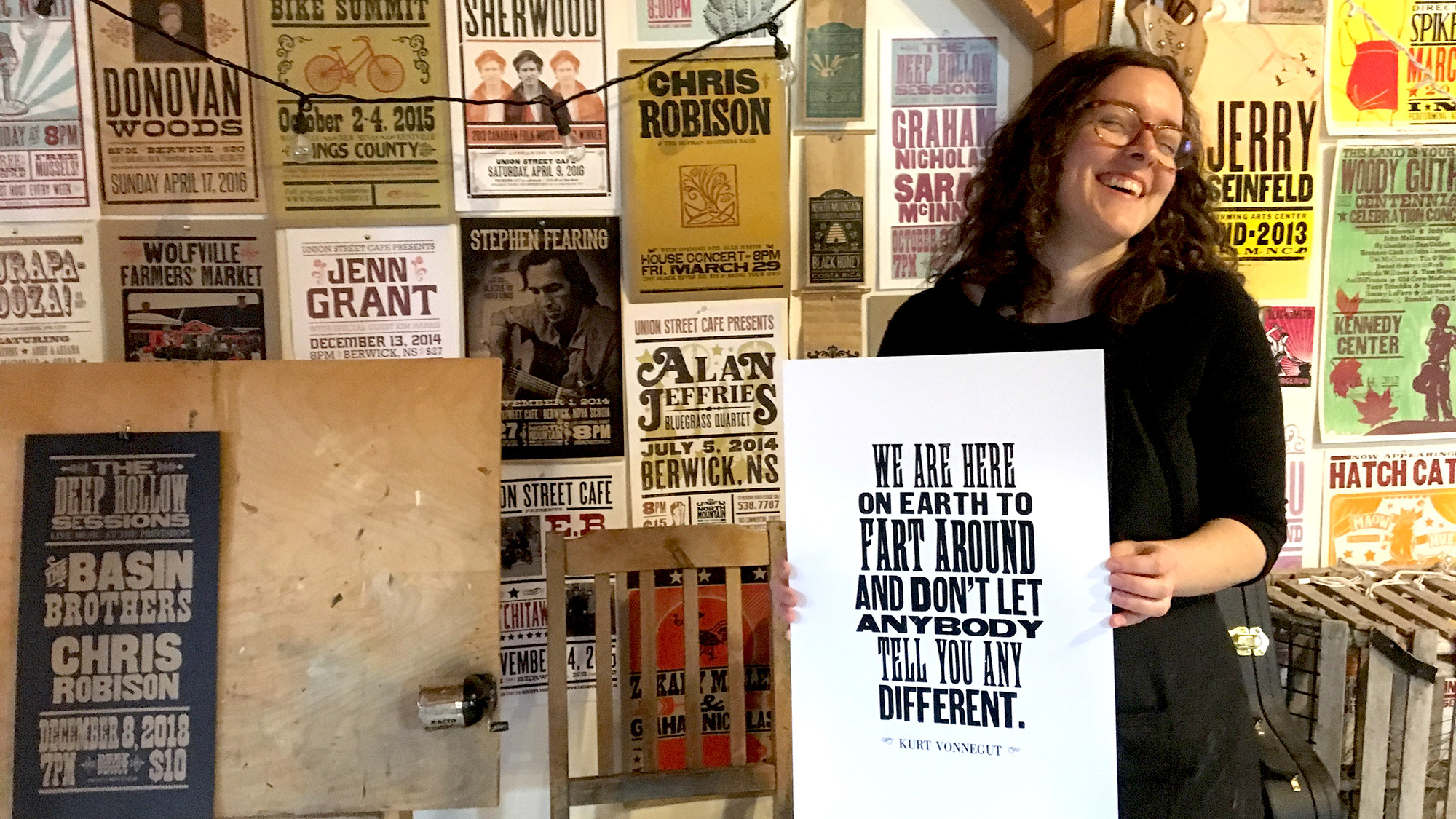 Laura MacDonald makes letterpress posters from her home studio near Kentville, N.S.