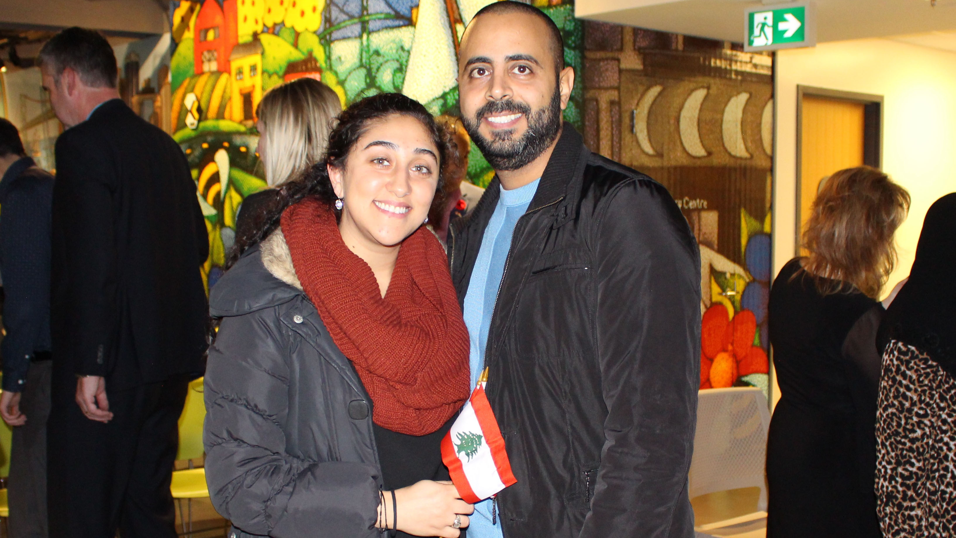 Samira Thomeh (left) and her husband Jad Alzoghby (right) celebrate the proclamation of Lebanese Heritage Month.