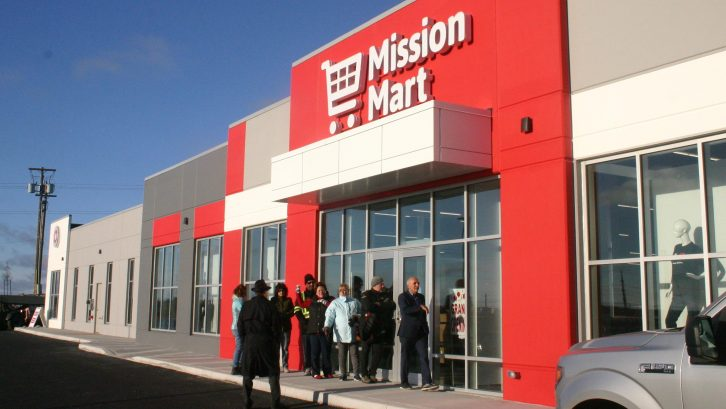 Eager customers brave the cold to be first in line for the opening of Souls Habour's Mission Mart on Thursday.