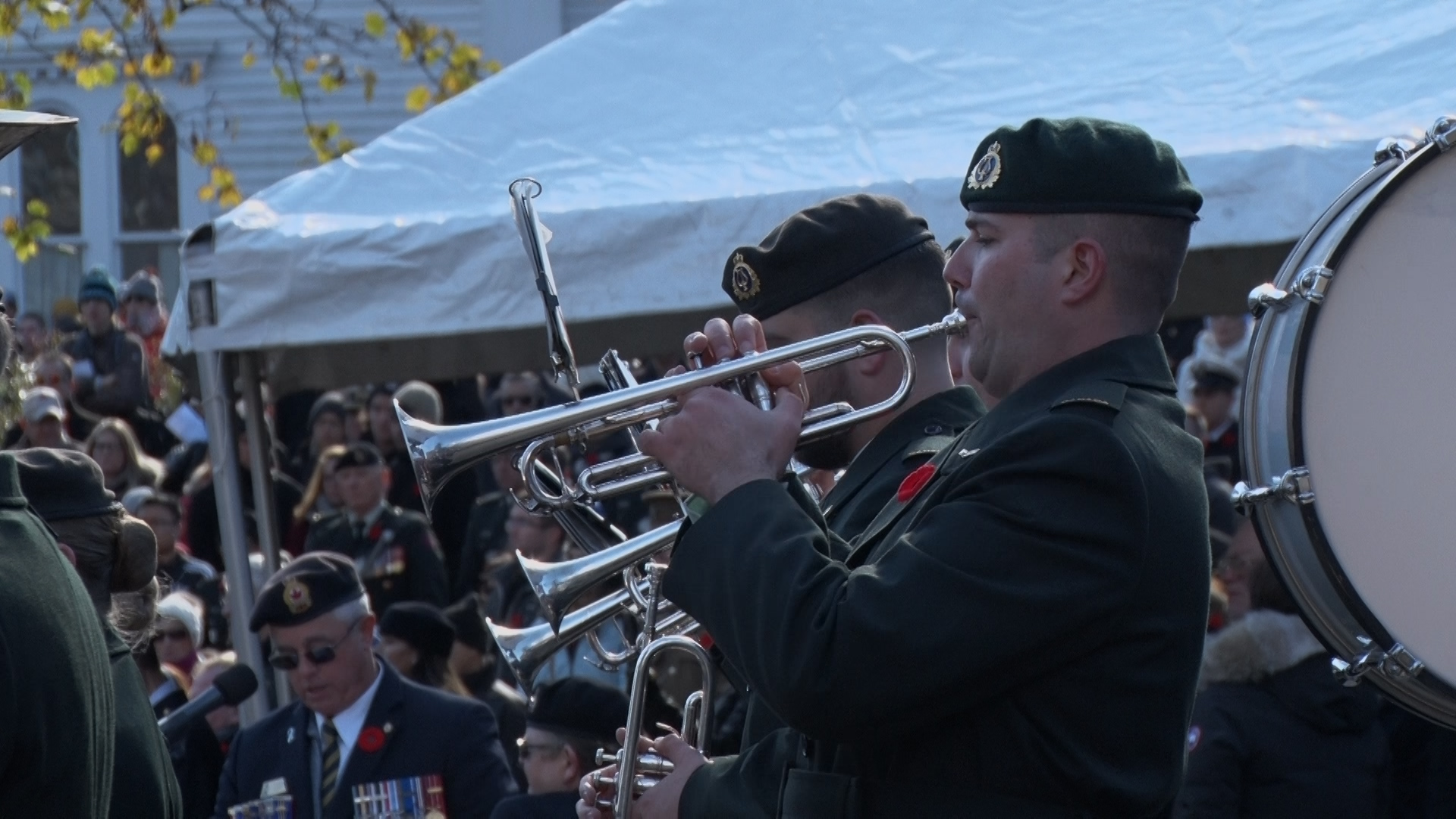 A military band plays at Grand Parade on Sunday morning.