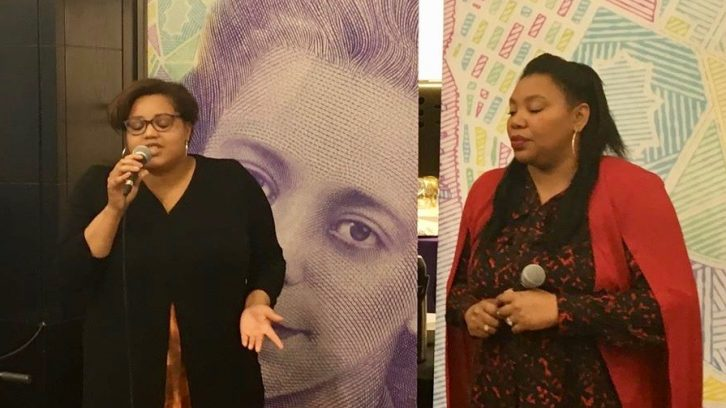 Natasha Thomas (left) and Minis Stairs (right) sing a song from Viola: An Original Musical at an event Monday.