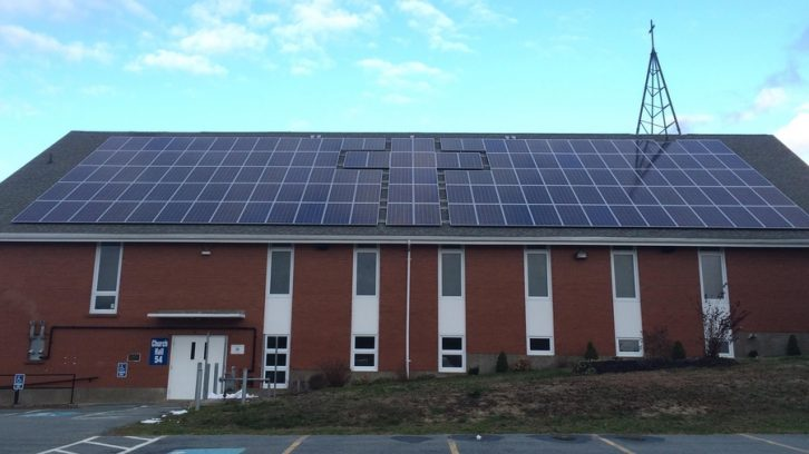 Woodlawn United Church uses solar-powered electric system shaped like a cross.