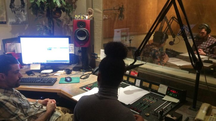 Audio team works to produce Friday's podcast.