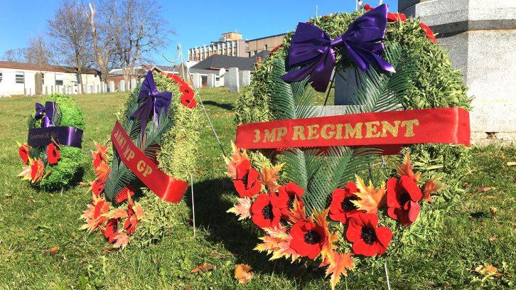 wreaths in cemetery