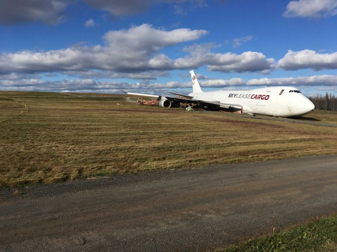 The plane landed off the end of a runway, close to Old Guysborough Road.