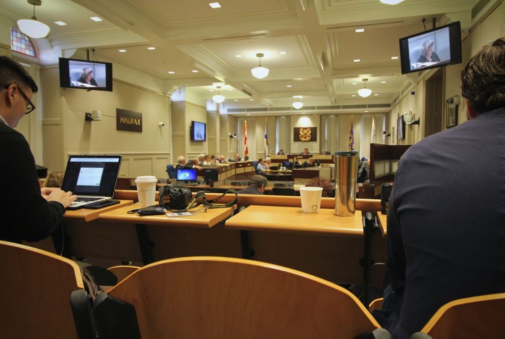 Journalists keeping an eye on local government at Halifax Regional Council.