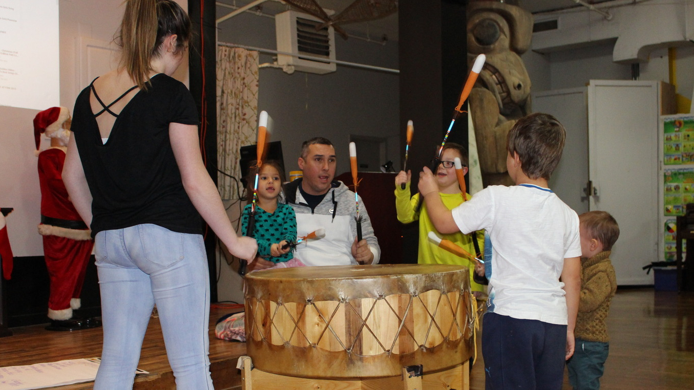Children and youth sang and played the drum with Bradley Paul at the first Mi'kmaq cultural night.