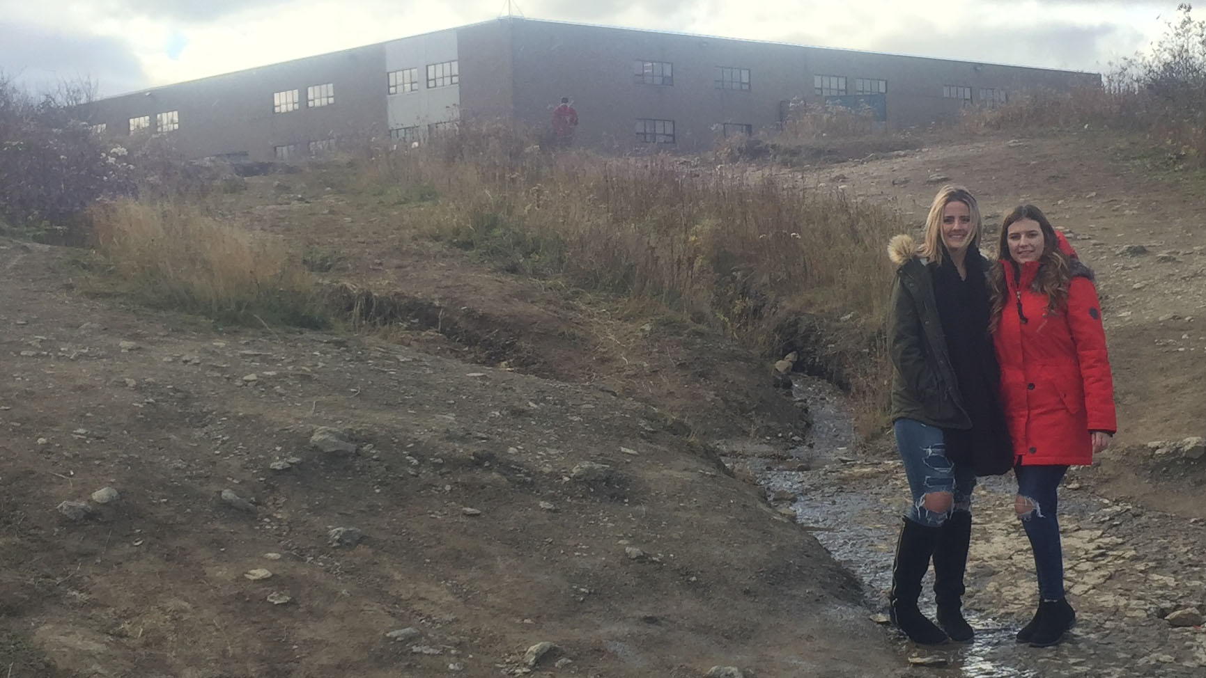 Julia White (left) and Danielle Hinchey (right) at the site of where the video was taped.