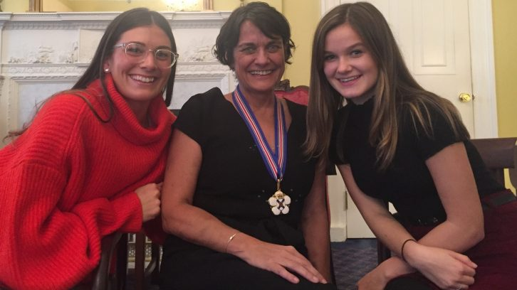 Patti Melanson (centre) with her daughters Mackenzie Ross (left) and Ella Debow (right) at the Order of Nova Scotia ceremony held in Province House.