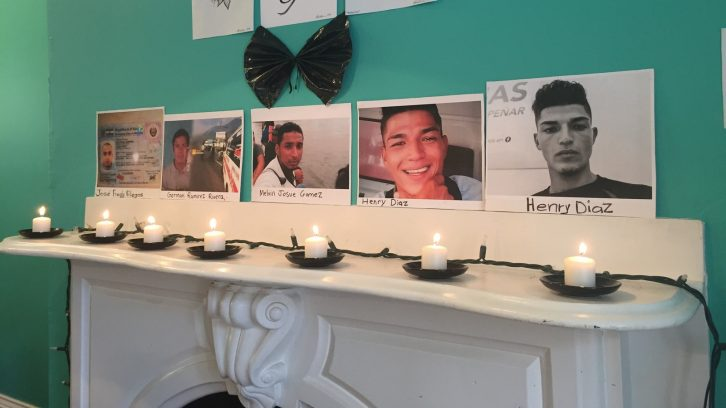 Halifax event commemorated some of the caravan migrants who died on their journey. From left to right: José Fredy Villegas, German Ramirez Rivera, Merlin Josue Gomez, Henry Diaz.