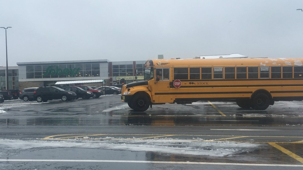 A school bus is parked at Sobeys in Bedford.
