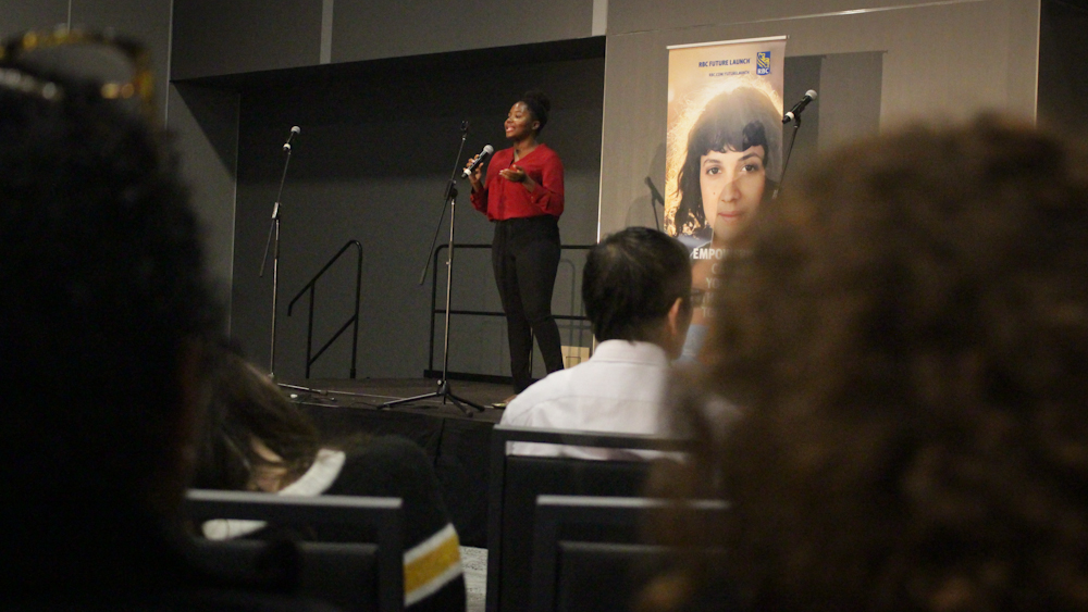 Ariana Joseph kicks off her presentation at the Halifax Convention Centre.