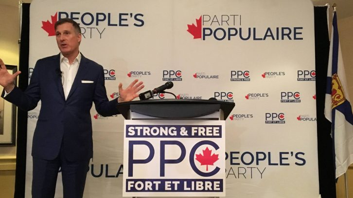 People's Party of Canada Leader Maxime Bernier speaks at a rally on Friday, Jan. 18 in Halifax.