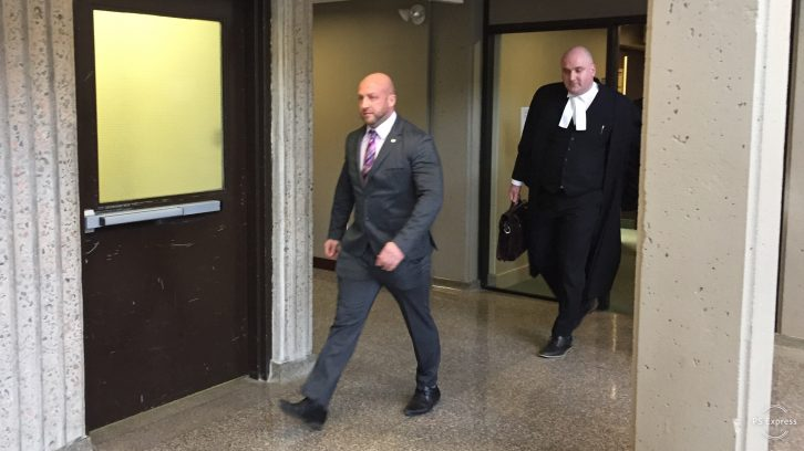 Darren Smalley (left) and his lawyer Ian Hutchison (right) leaving court after Smalley was found not guilty.