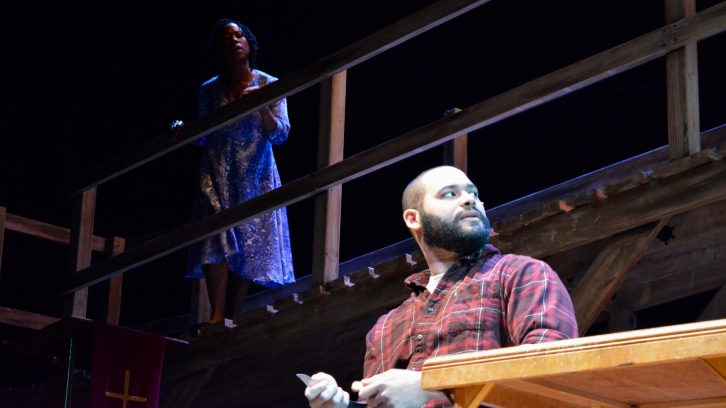 Actors Sophia Walker and Jacob Sampson run through the opening act of The Bridge.