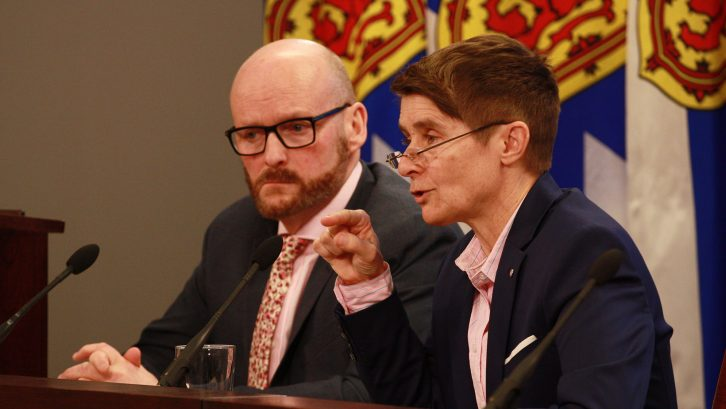 Auditor General Michael Pickup and Privacy Commissioner Catherine Tully at a news conference on Jan. 15, 2019.