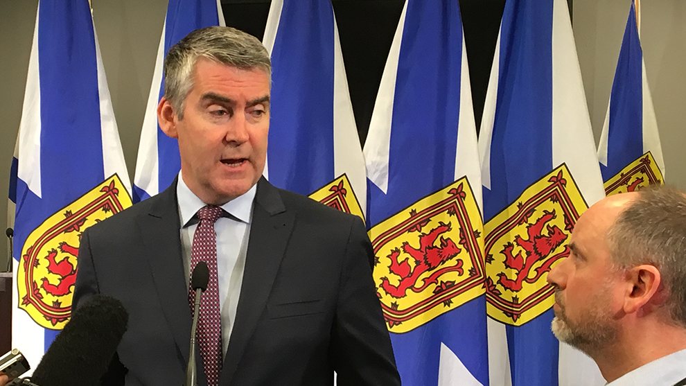 Nova Scotia Premier Stephen McNeil addresses reporters Thursday morning.