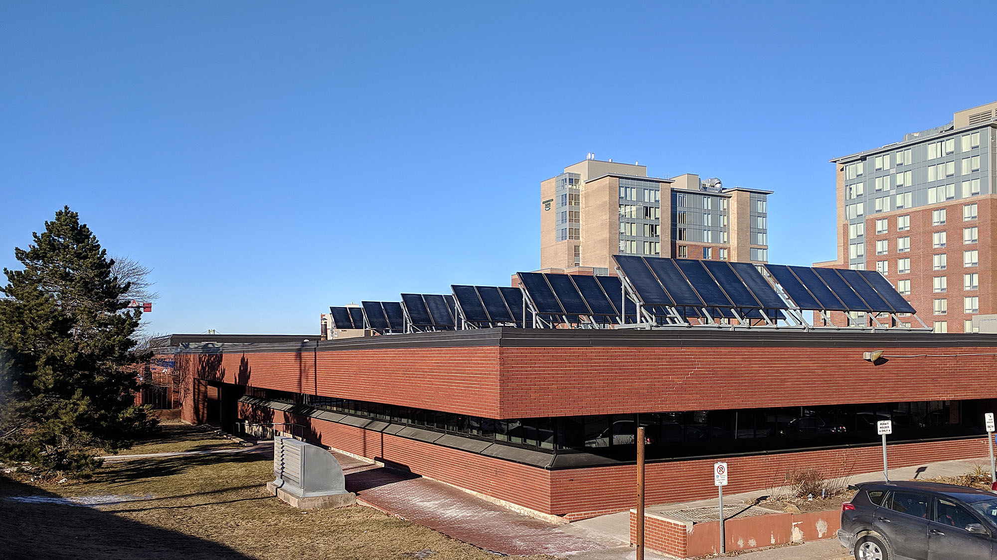 Solar panels cover the Halifax Regional Police headquarters on Gottingen Street.