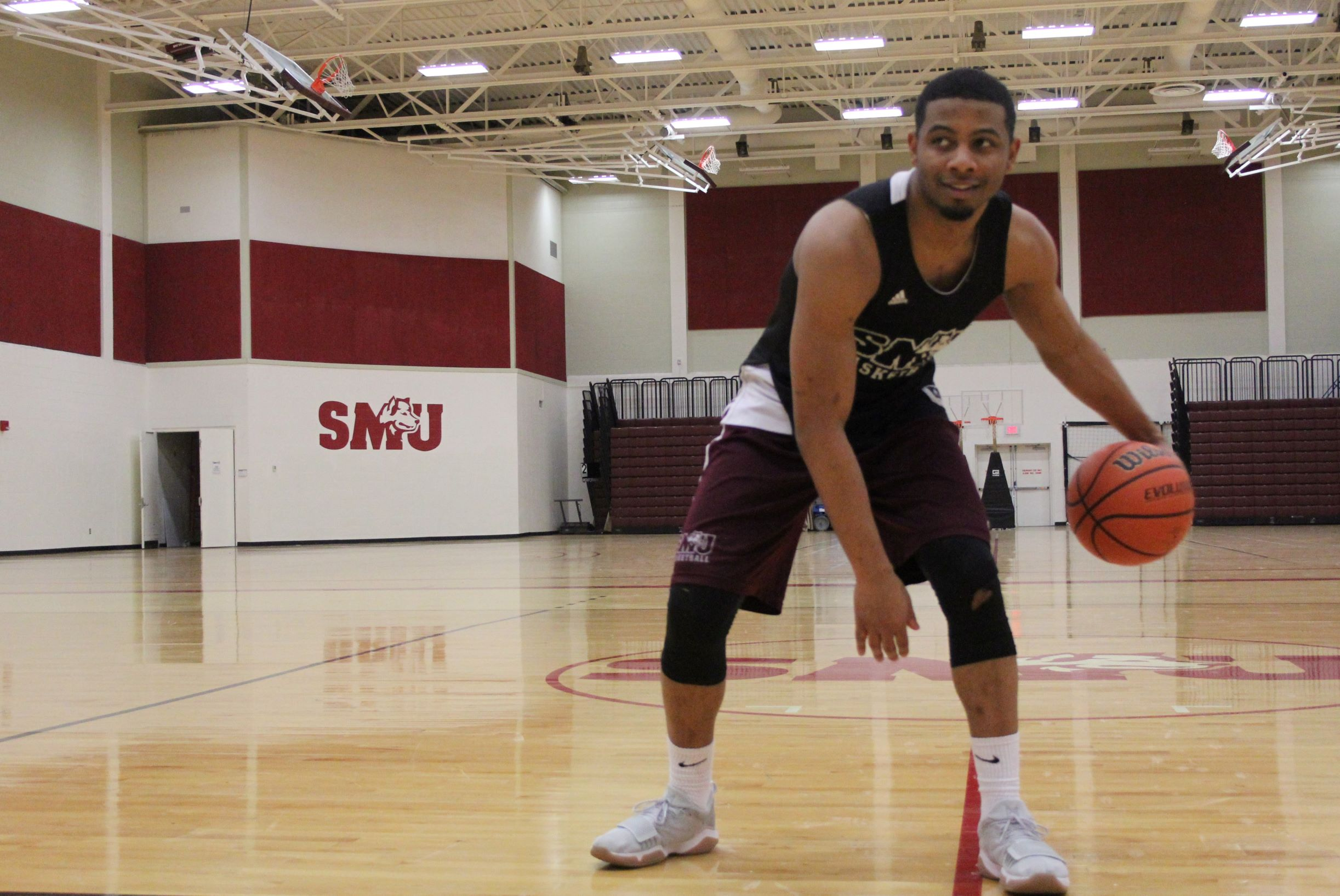 Co-captain and AUS first team all-star Kemar Alleyne on his home court in Saint Mary's University.