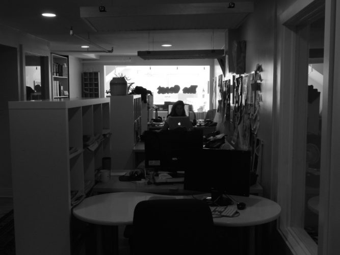 The inside of the Coast's small office in Halifax.