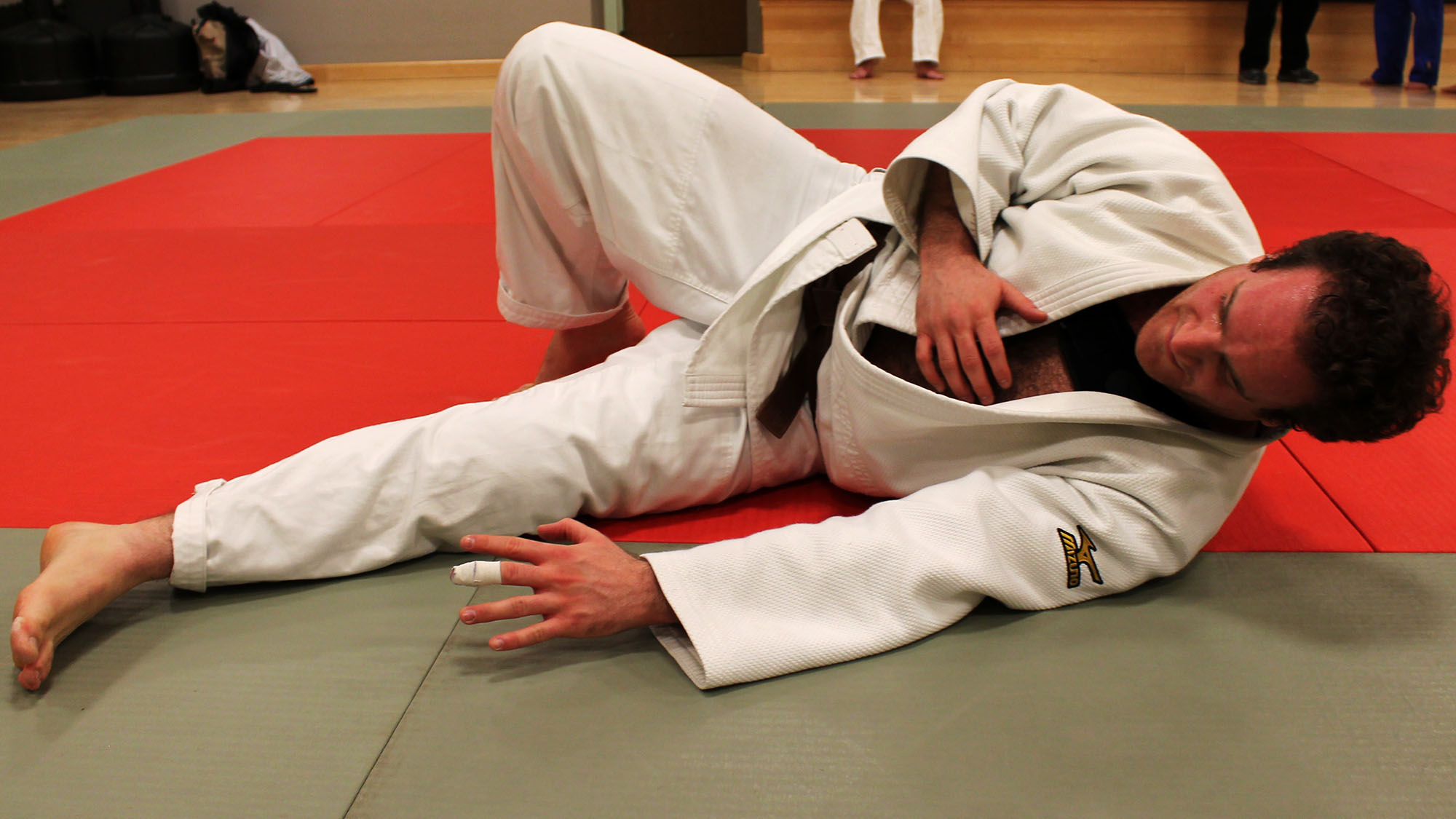 Aonghus Garrison practices falling during a judo session at the University of King's College.