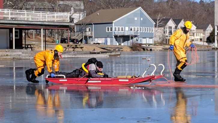 Halifax Search and Rescue demonstrate different techniques to save a person who has fallen through the ice.
