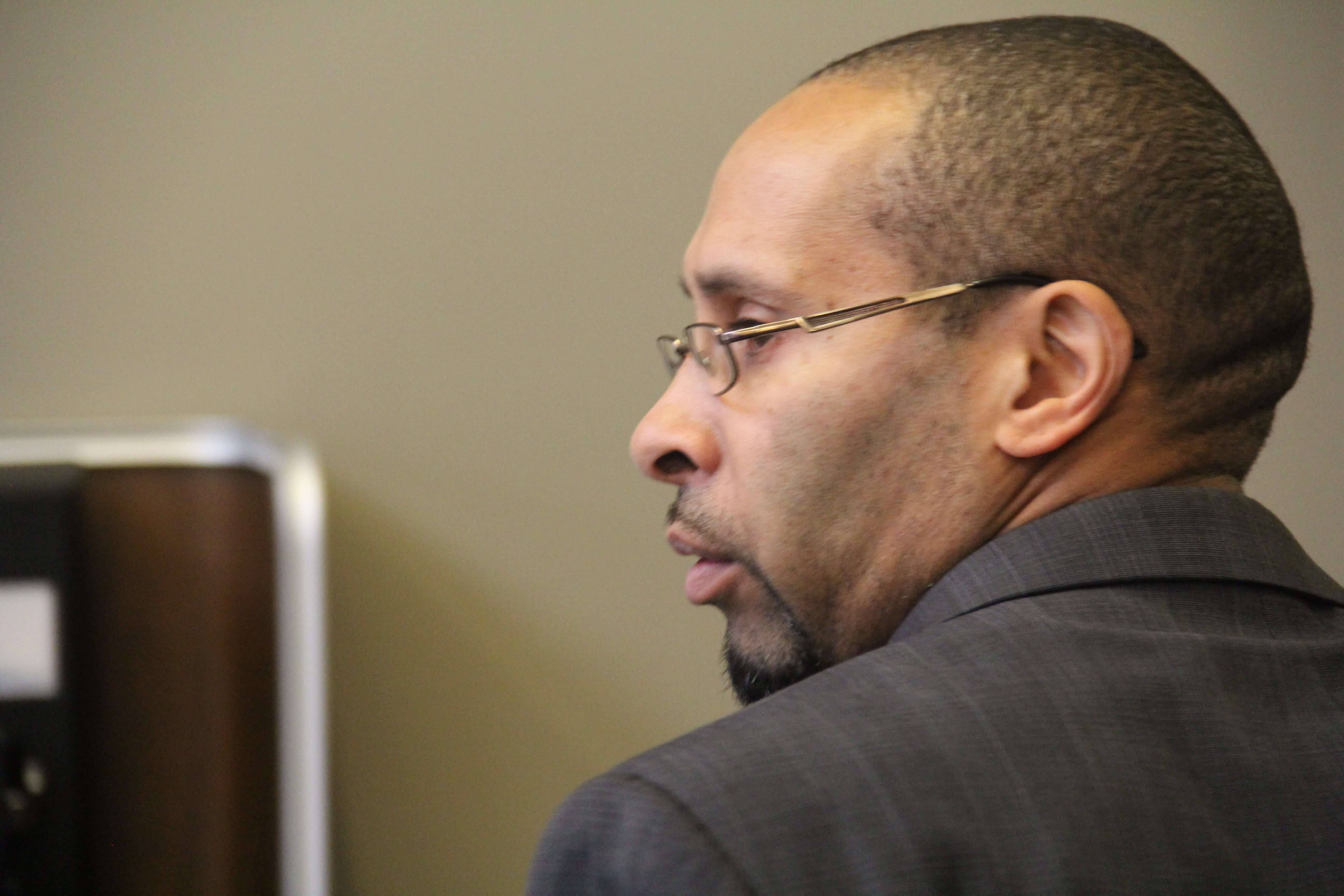 Blake William Jackson enters the courtroom after a lunch break on Tuesday.