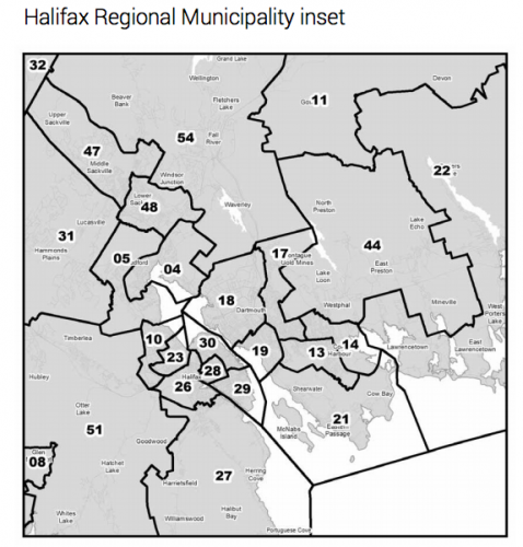 One proposed electoral map for the HRM with the new lines for the Preston district (44).