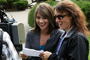 Kayla Hounsell, left, shares a laugh with CTV Atlantic promo producer Marnie Ells.