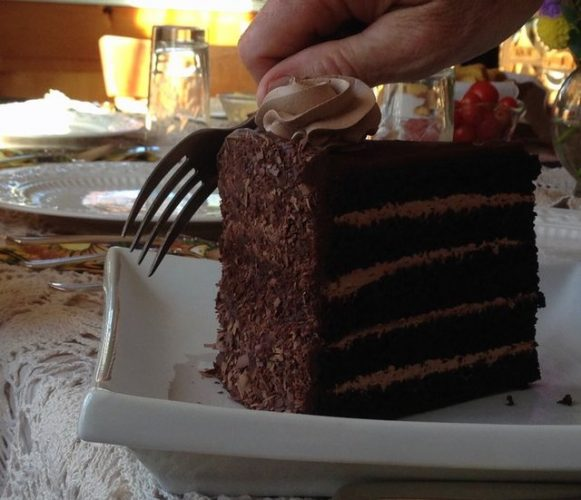 Chocolate cake is a common dessert at high end restaurants.